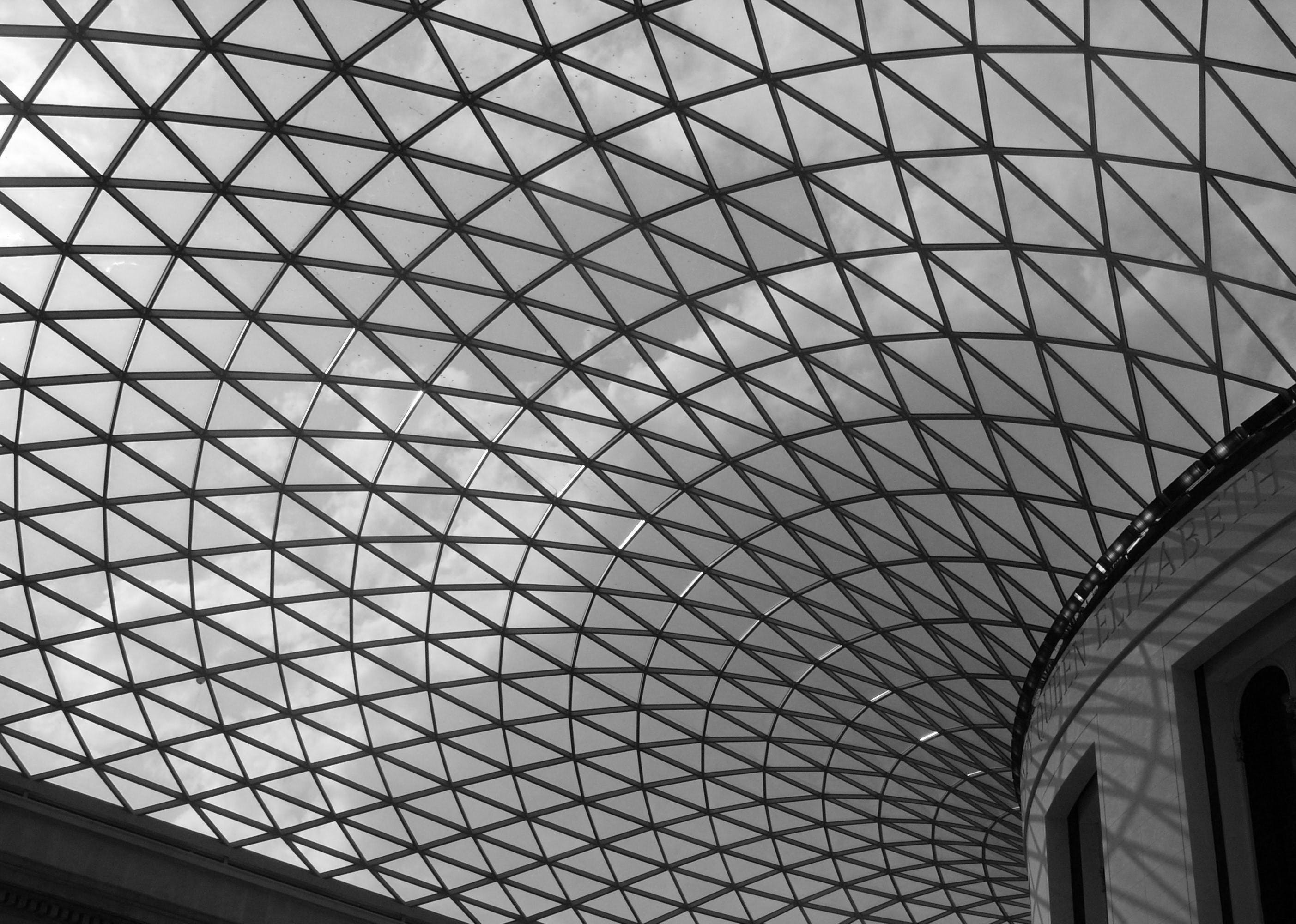 Gray Scale Photo of Glass Dome Building