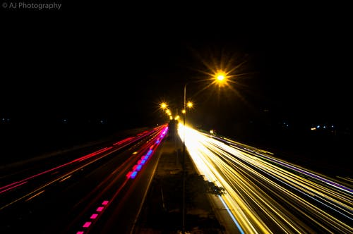 Foto stok gratis #road #lights #motionblur