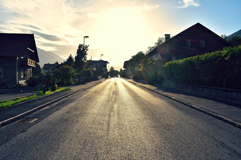 Free stock photo of road, sky, sunset, village