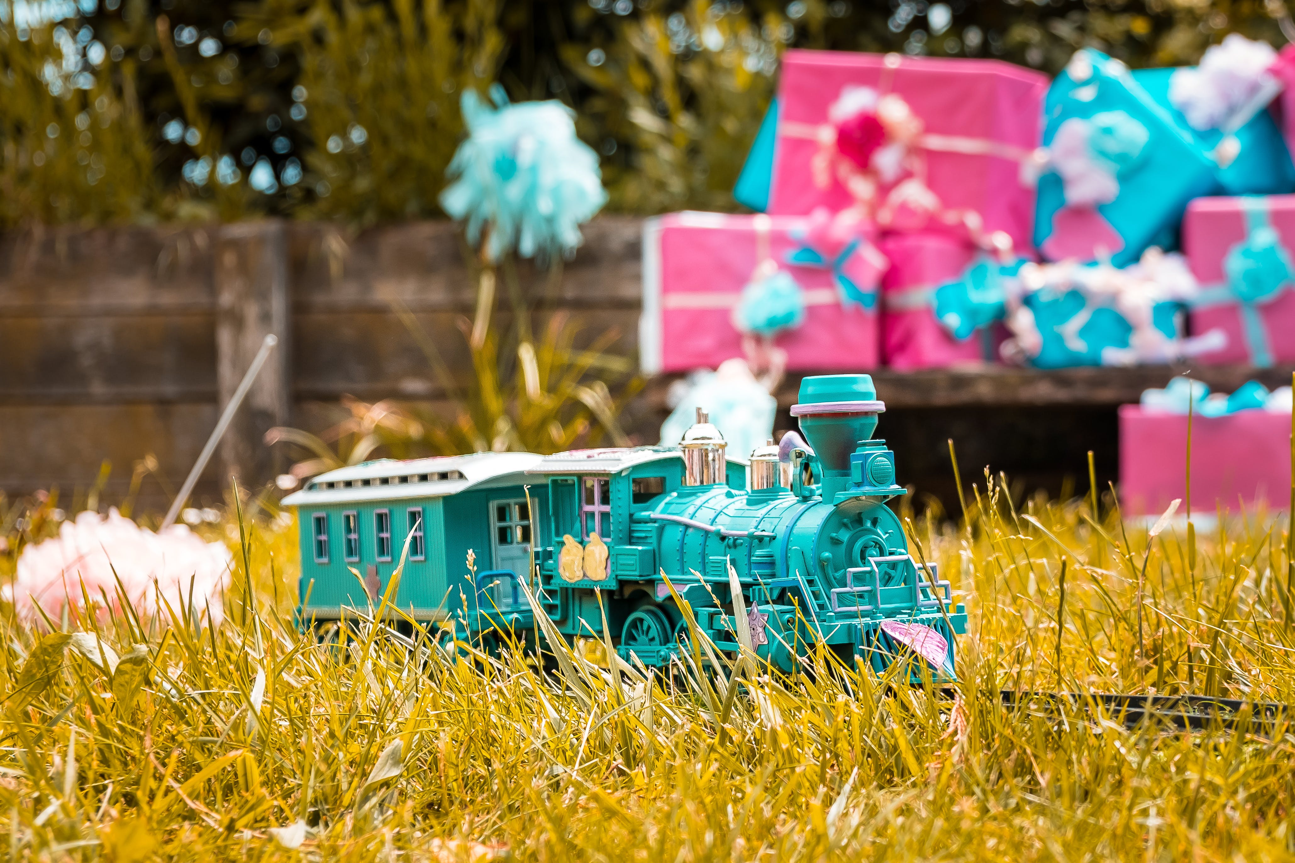 Teal Train Toy