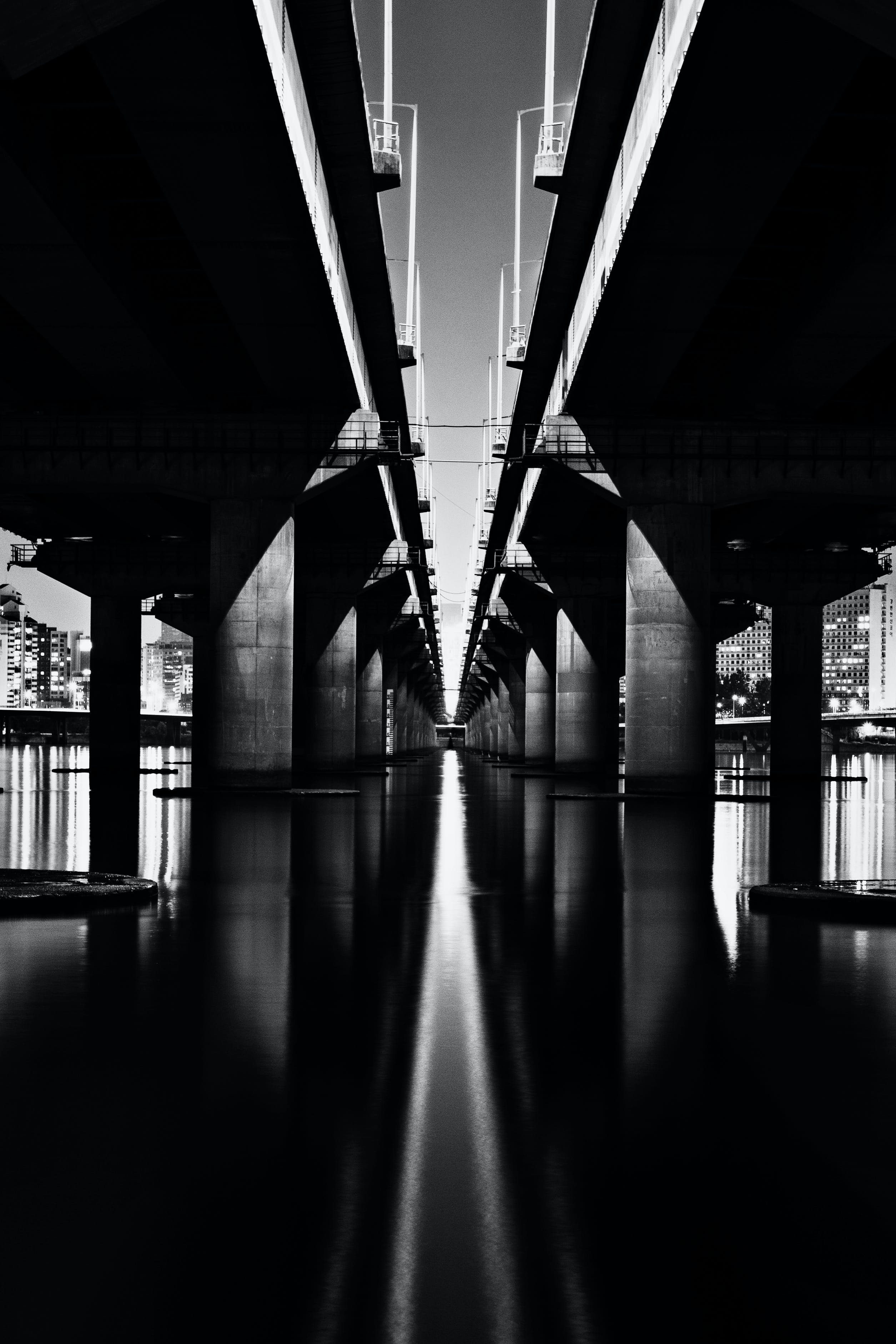 Greyscale Photography of Bridge