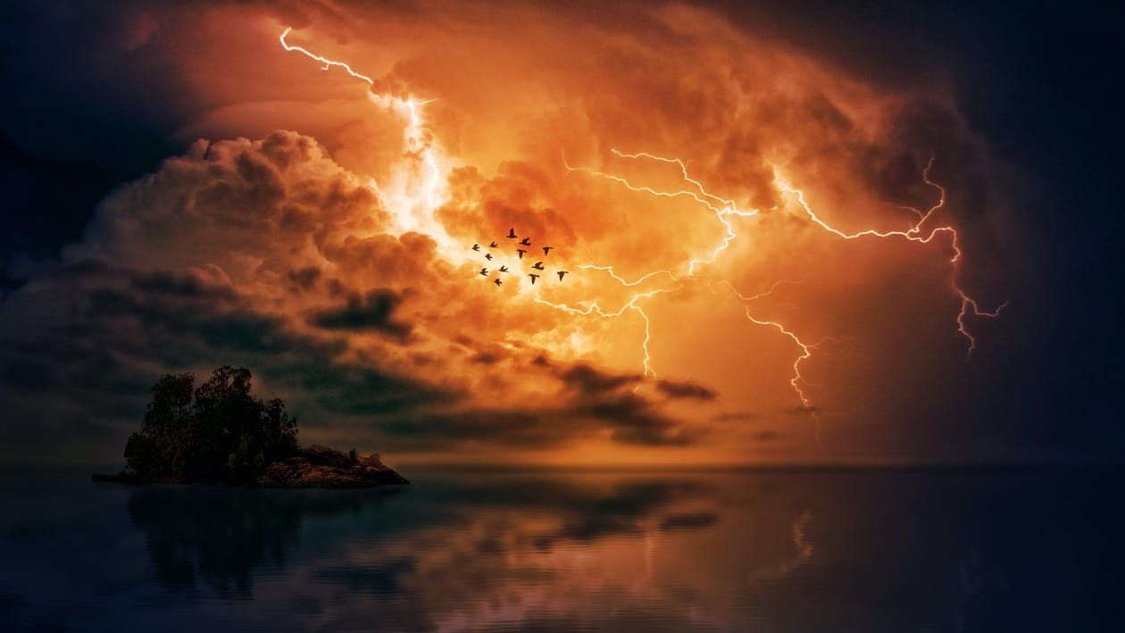 avond, bliksem, dageraad