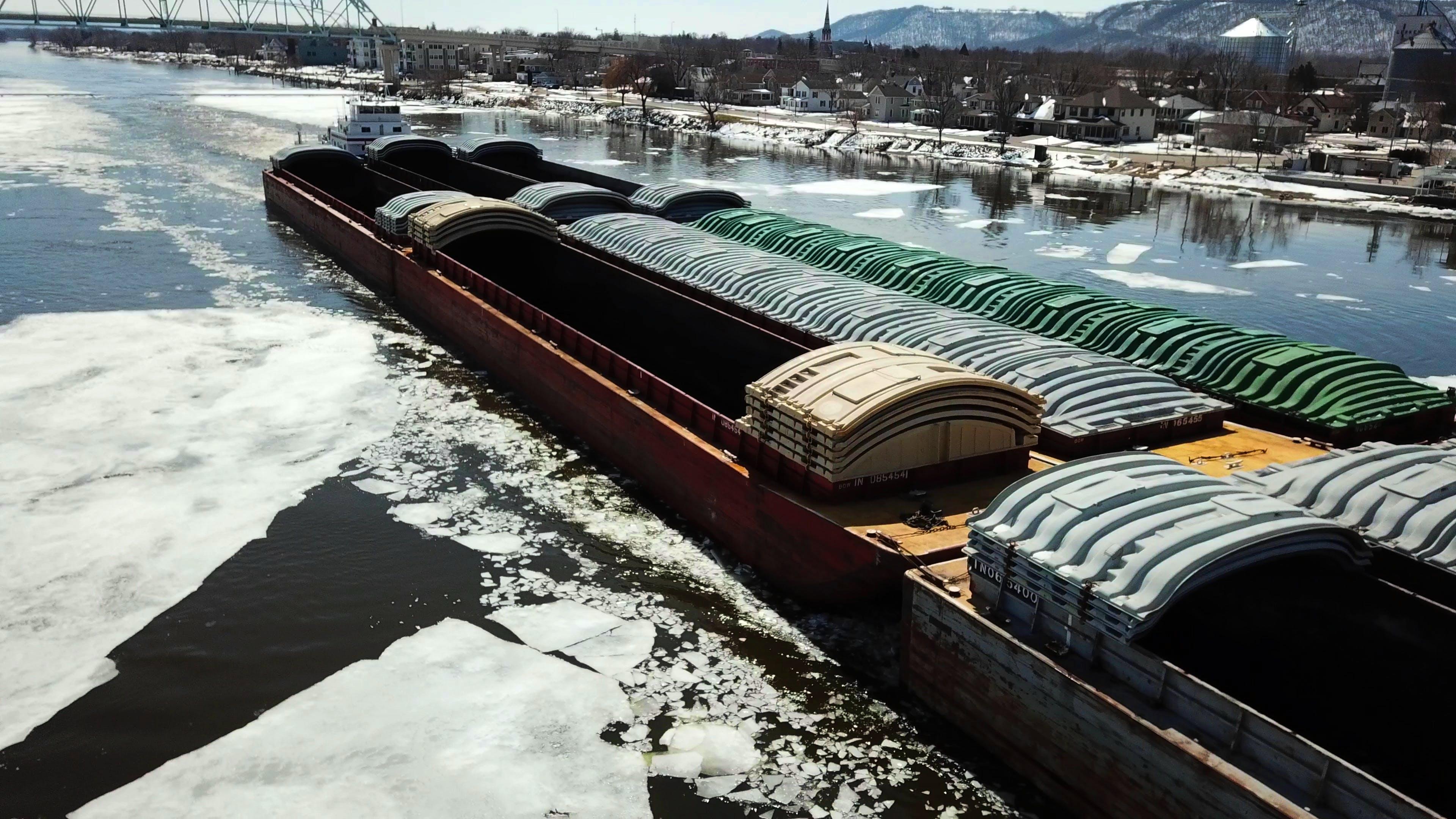 Free stock photo of barge, bridge, drone, drone cam