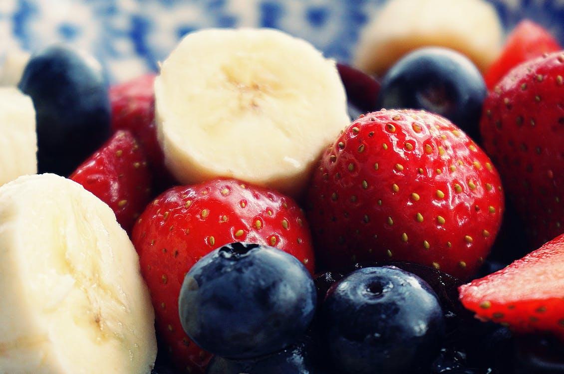 Sliced Strawberries, Banana, and Blackberries