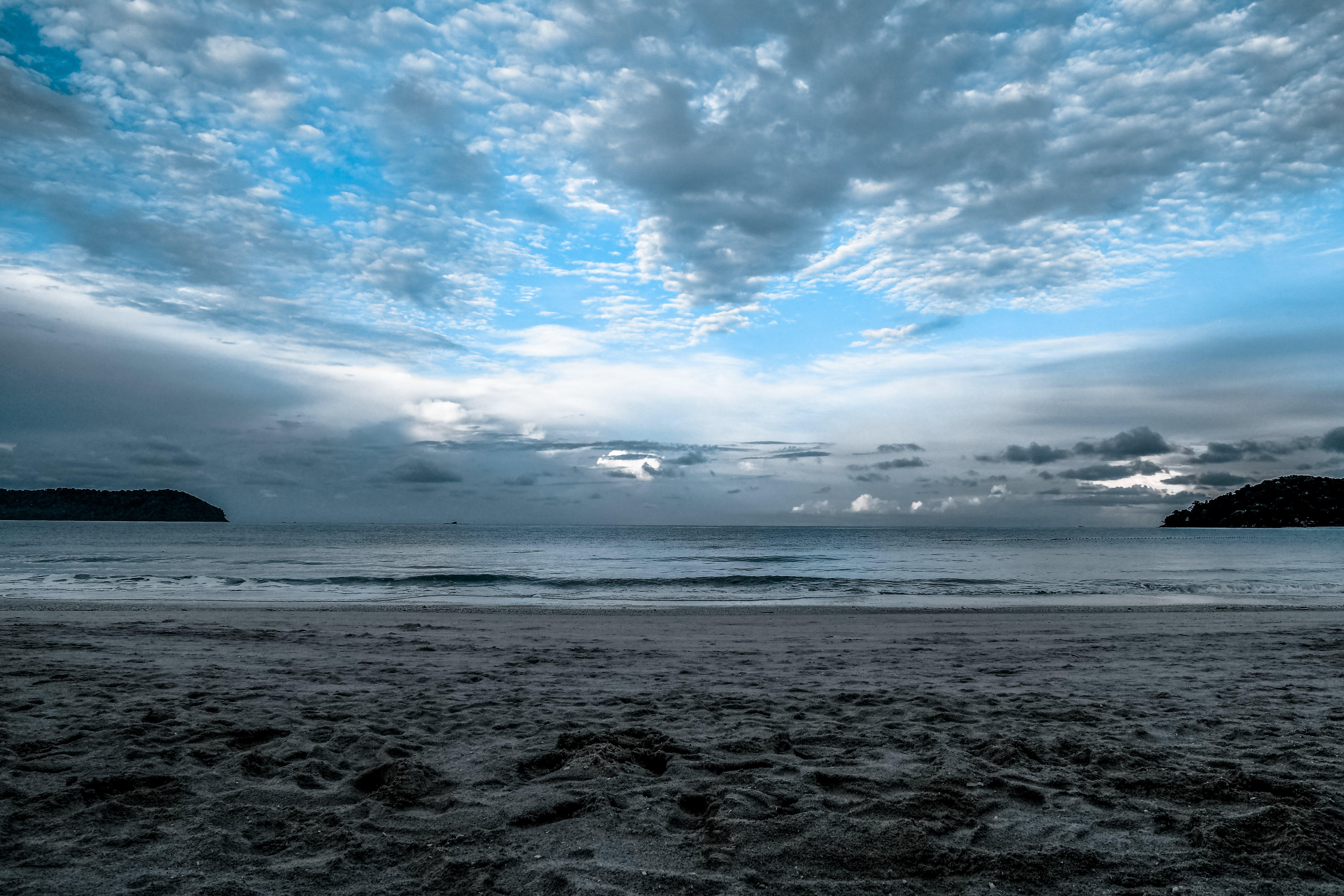 คลังภาพถ่ายฟรี ของ ชายทะเล, ชายหาด, ตอนเย็น, ตะวันลับฟ้า