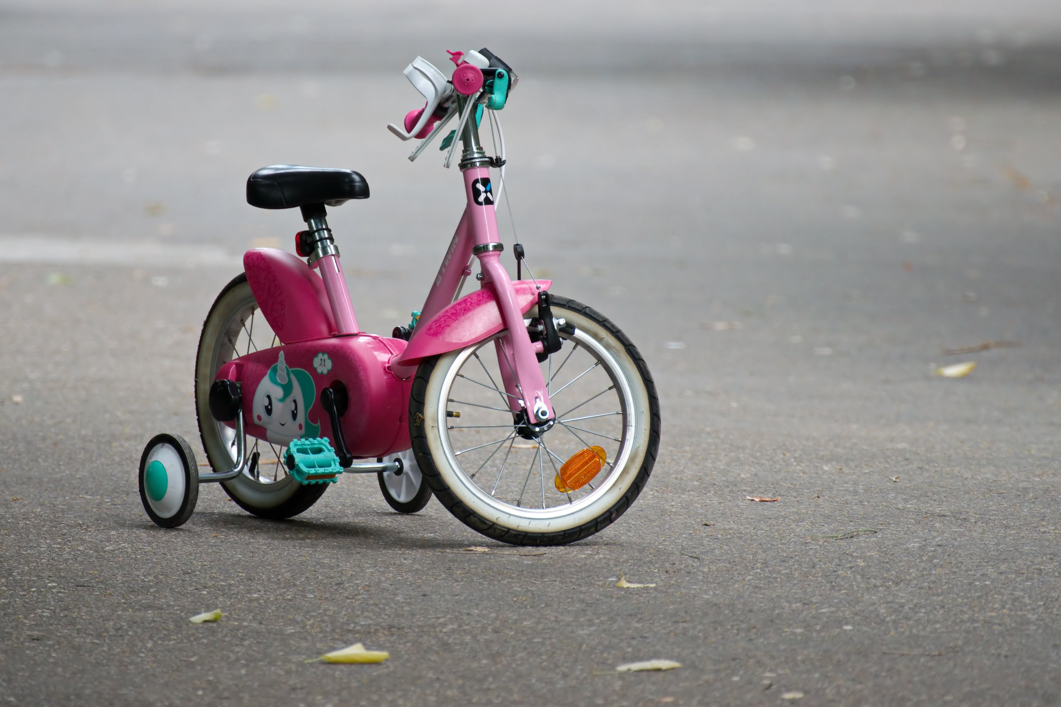 Pink Bike With Training Wheels on Gray Pave Road