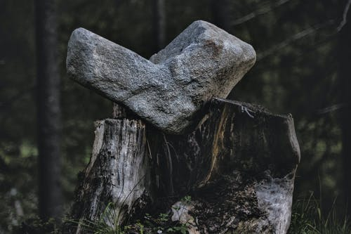 Gray Rock on Black and Gray Wood