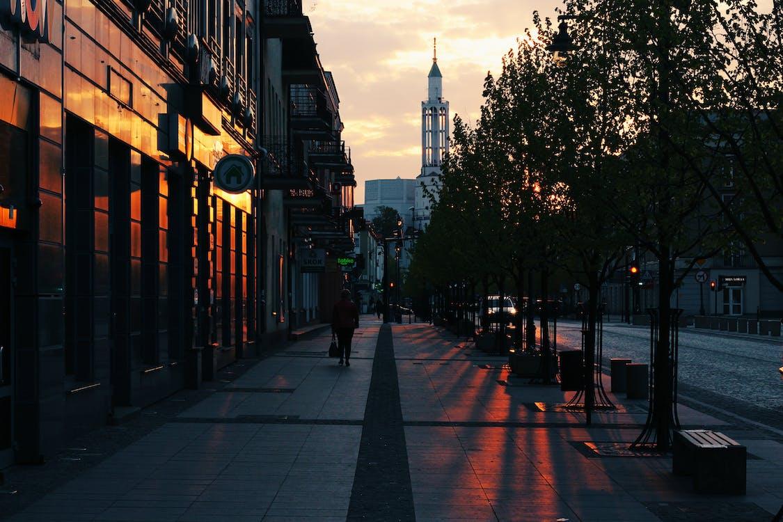 alba, architettura, camminando