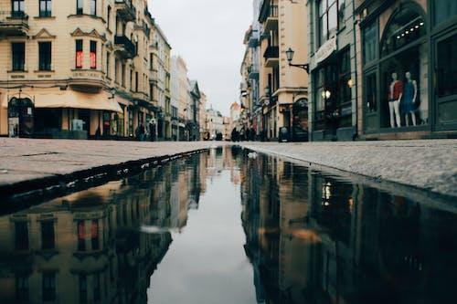 Foto profissional grátis de cidade, reflexão, rua