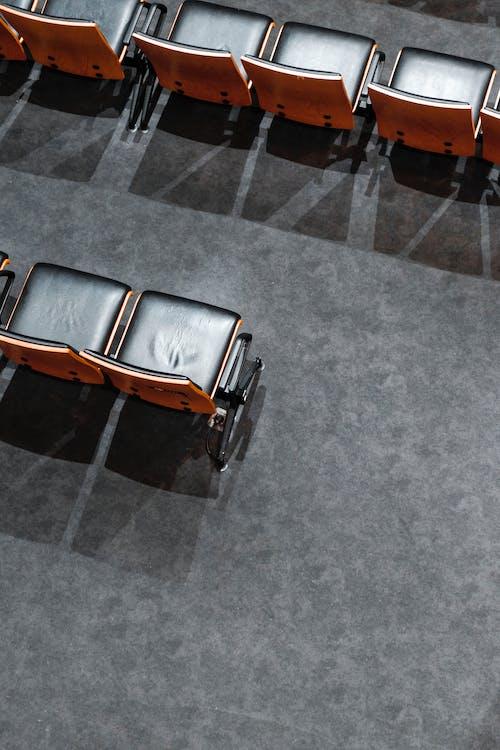 adentro, asientos, de madera