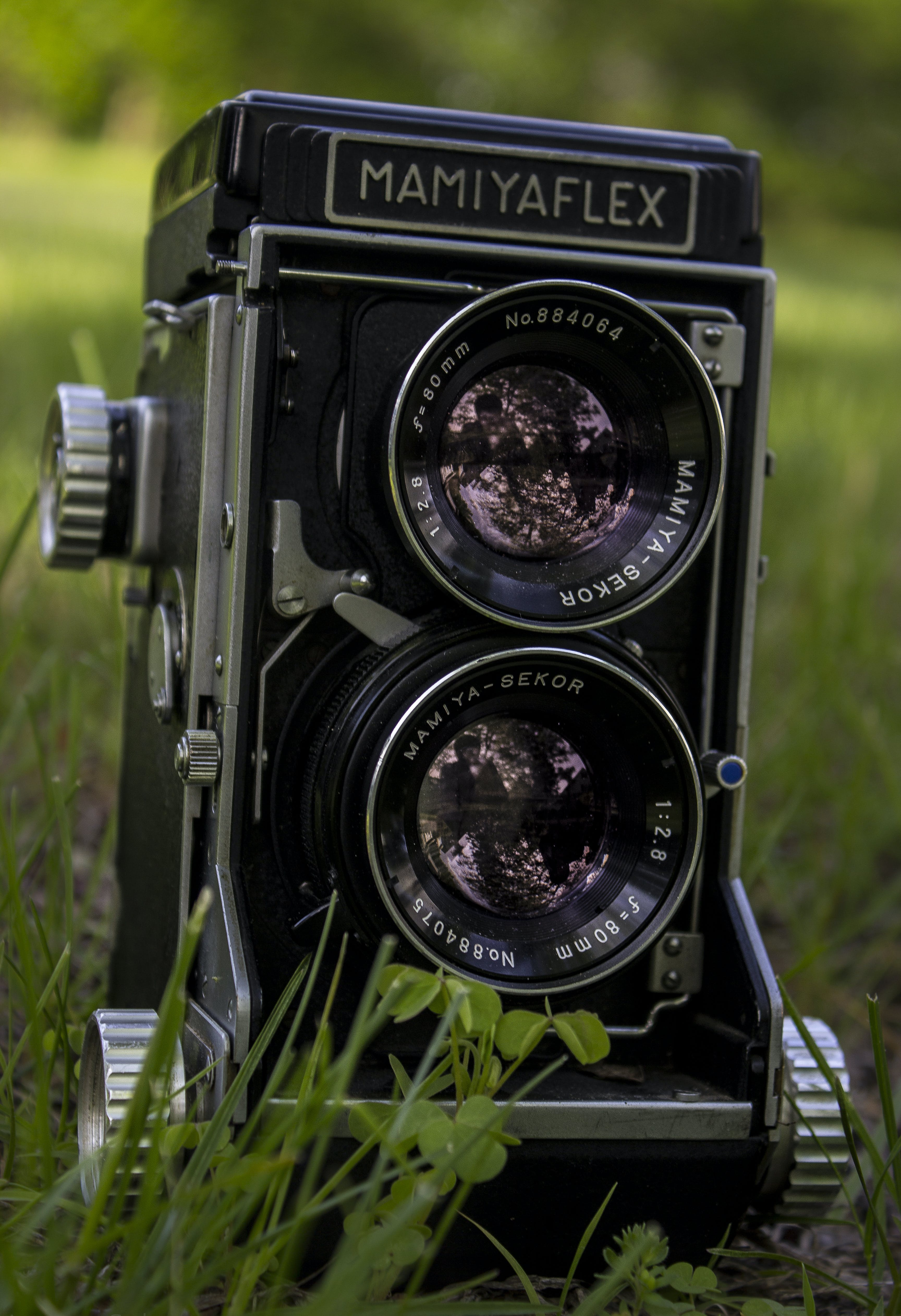 Closeup of Mamiya Flex Twin-lens Camera on Grass