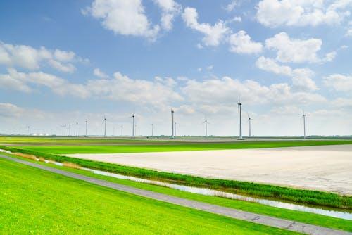 Бесплатное стоковое фото с ветряные мельницы, дневной свет, дорога, зеленый