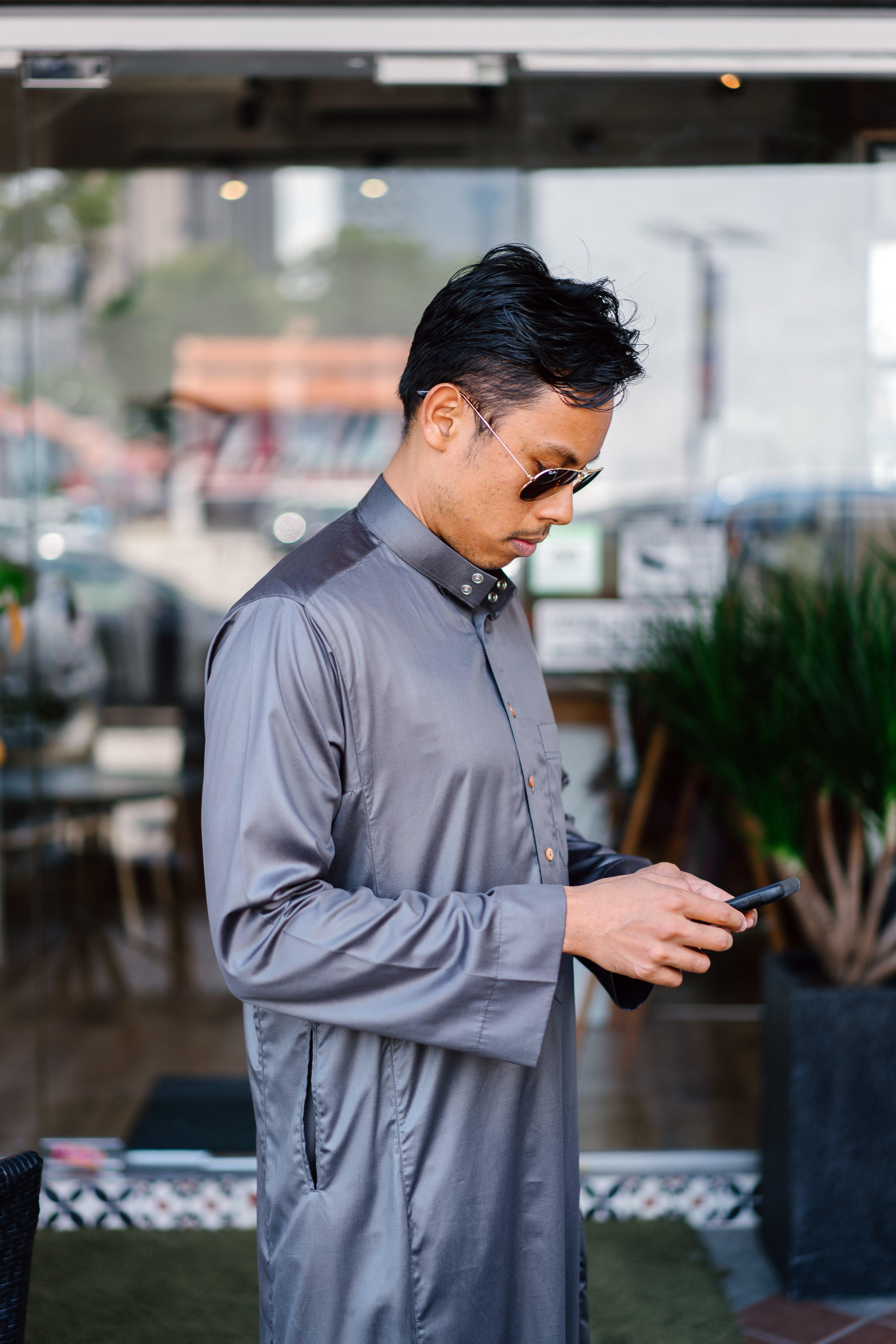 Man Wearing Gray Dress Shirt