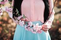 hands, woman, flowers