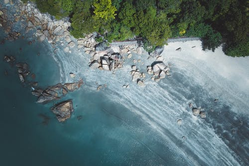 Aerial Photography of Stones on Seashore