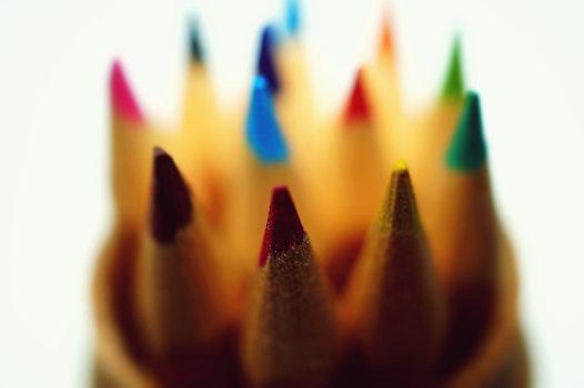 Free stock photo of coloured pencils, macro photography