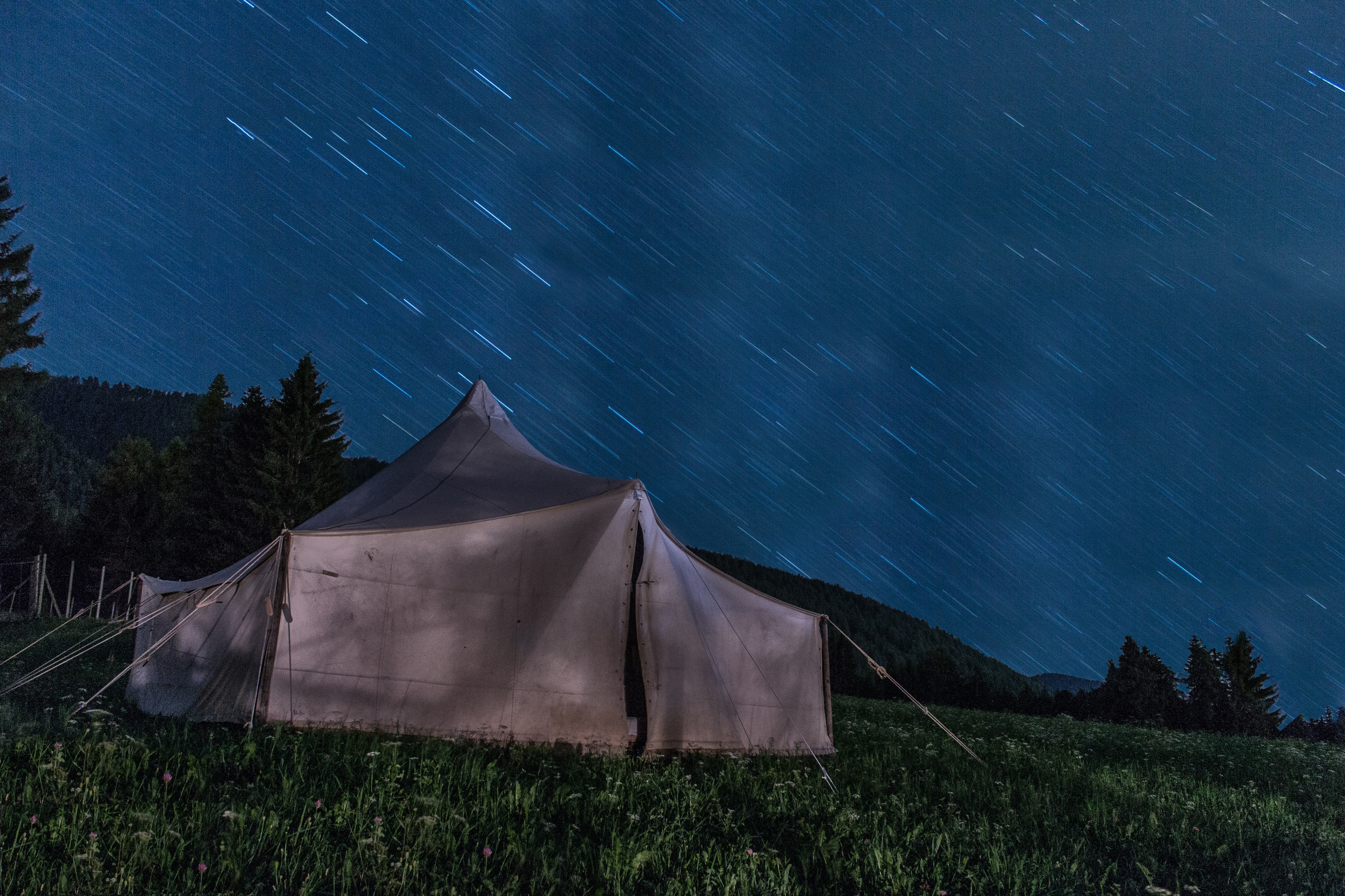 Brown Tent on Green Grass during Night Time · Free Stock Photo