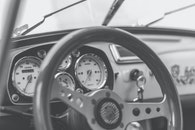 black-and-white, car, steering wheel