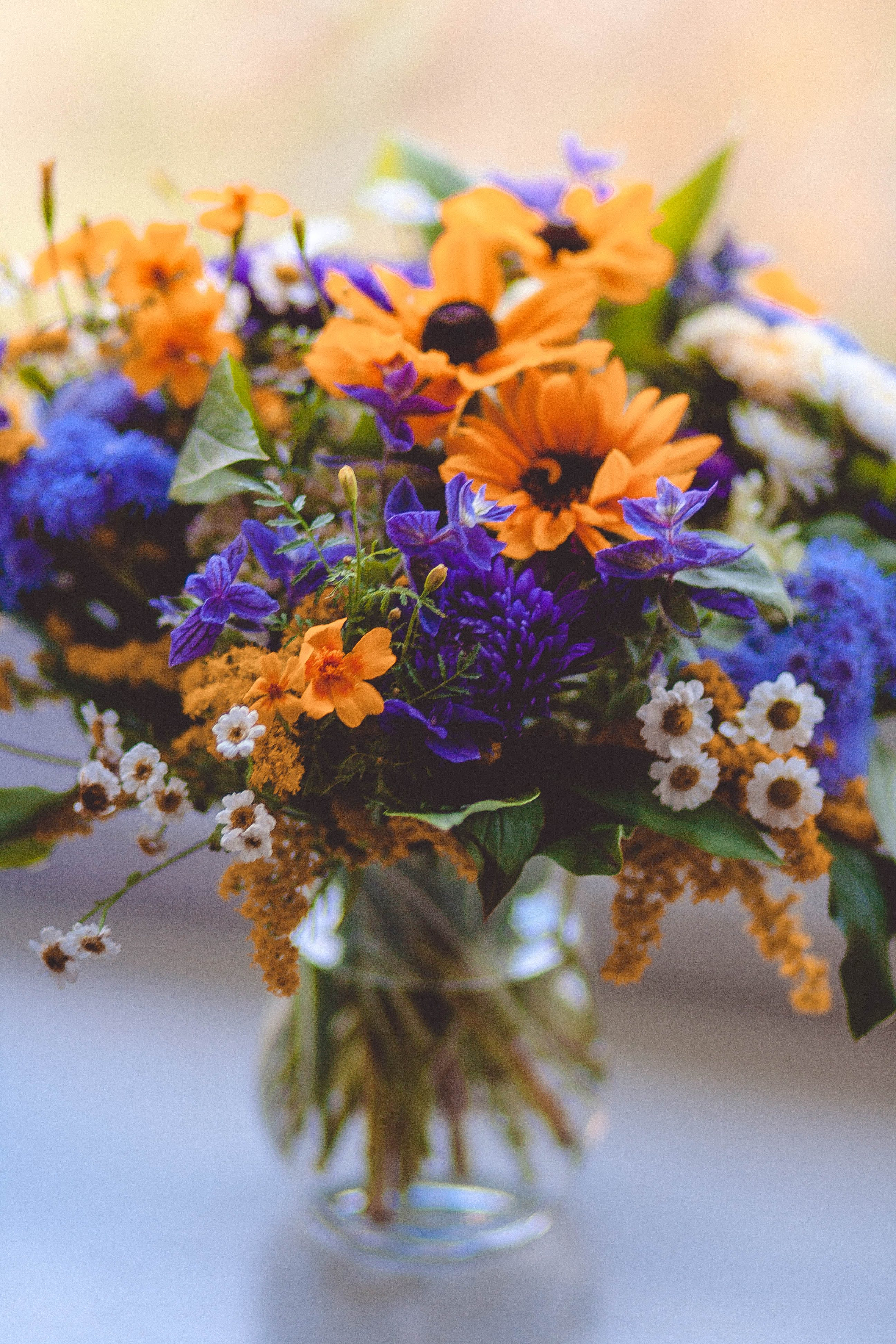 Orange Purple Green and White Flowers Decor