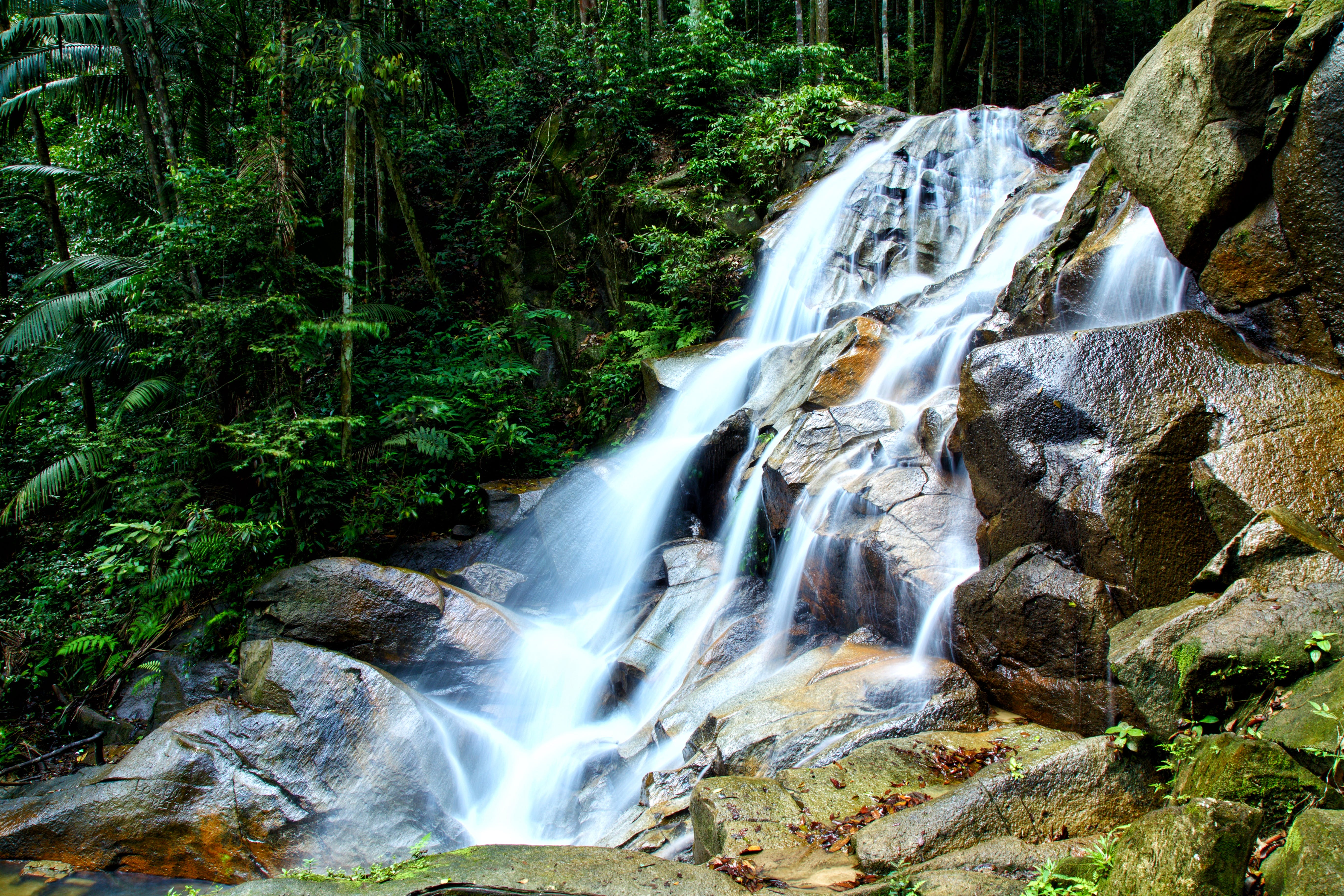 Waterfalls With Brown Stones
