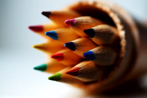 Free stock photo of color, coloured pencils, macro photography