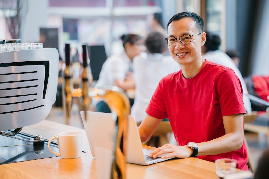 Man Wearing Red Crew-neck Shirt