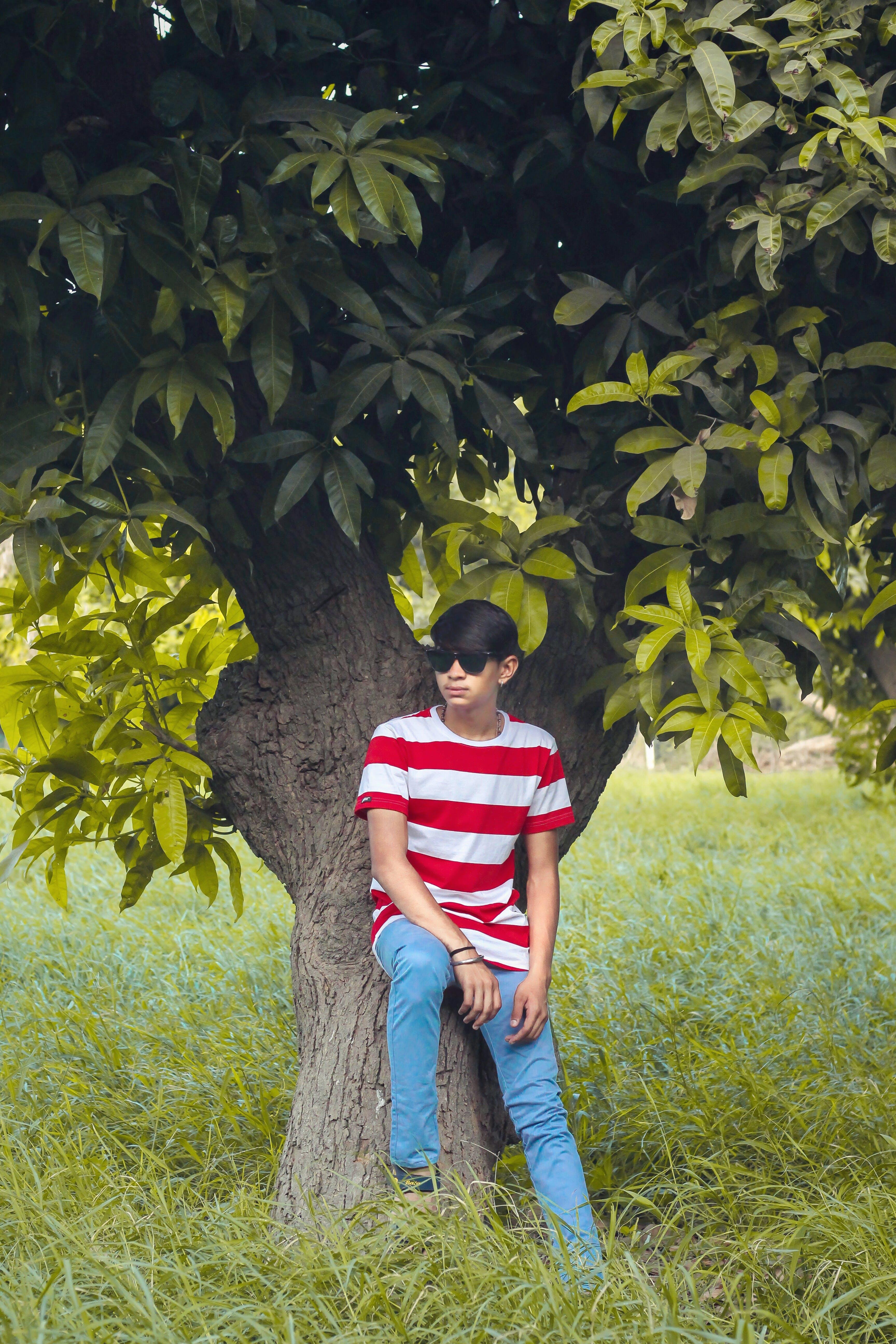 Man Wearing White and Red Stripe Crew-neck Shirt, Blue Denim Jeans, and Black Wayfarer-style Sunglasses Sitting Tree