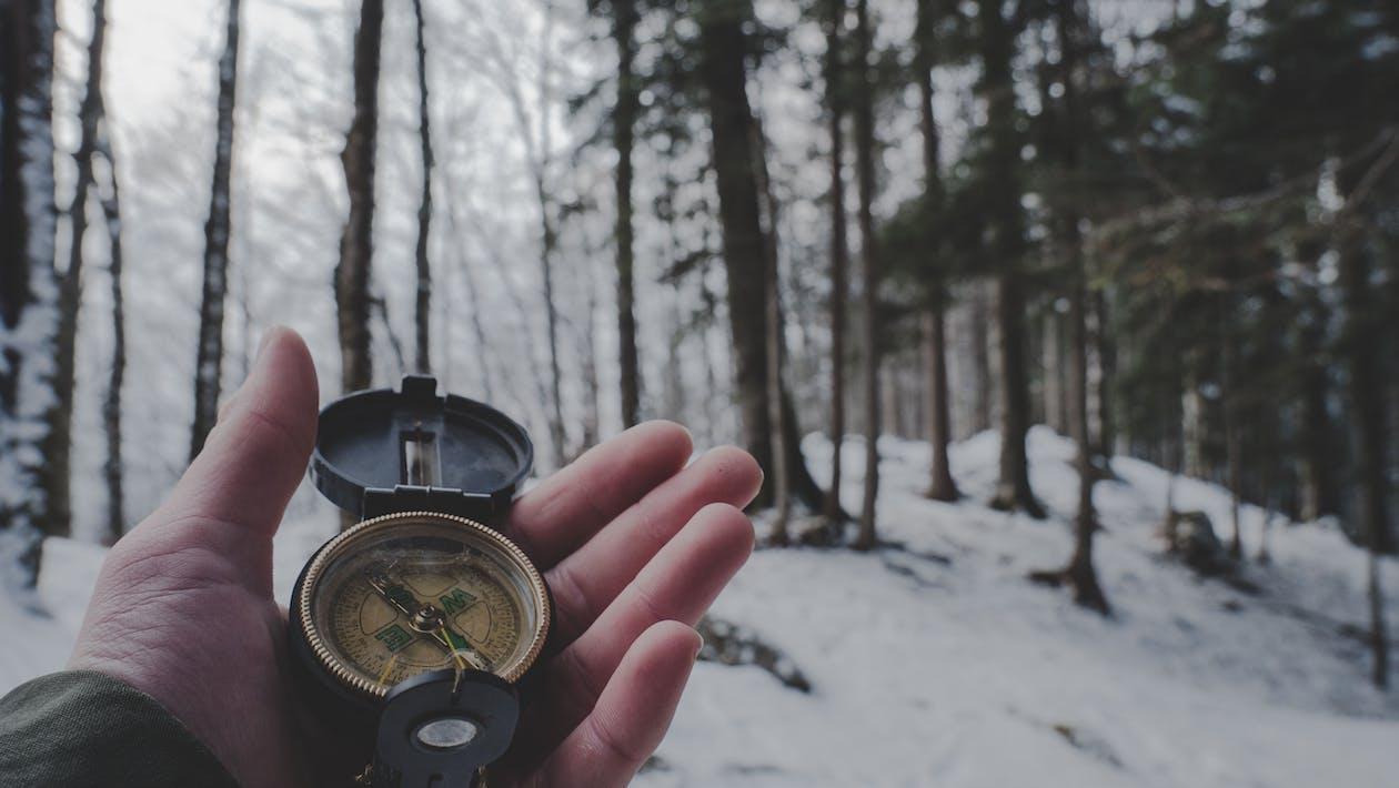 指南針在森林裡的人