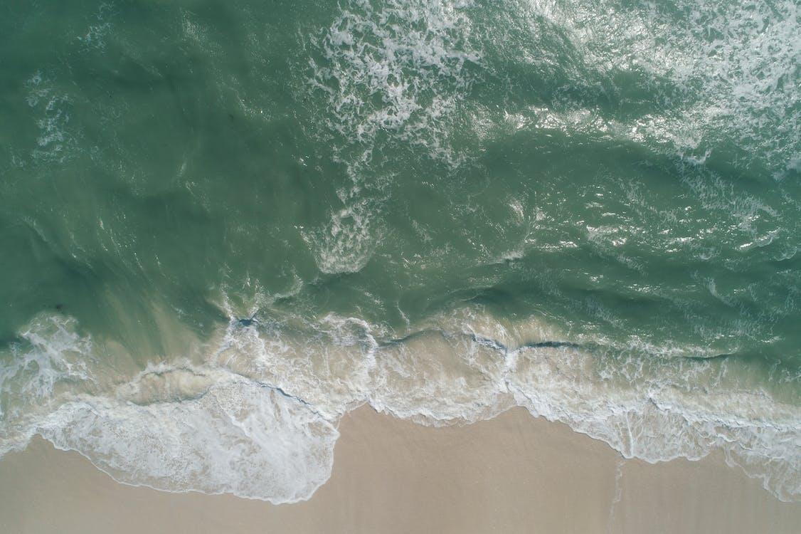 aerofotografia, água, beira-mar