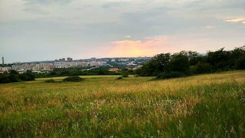 Бесплатное стоковое фото с город, закат, небо, поле