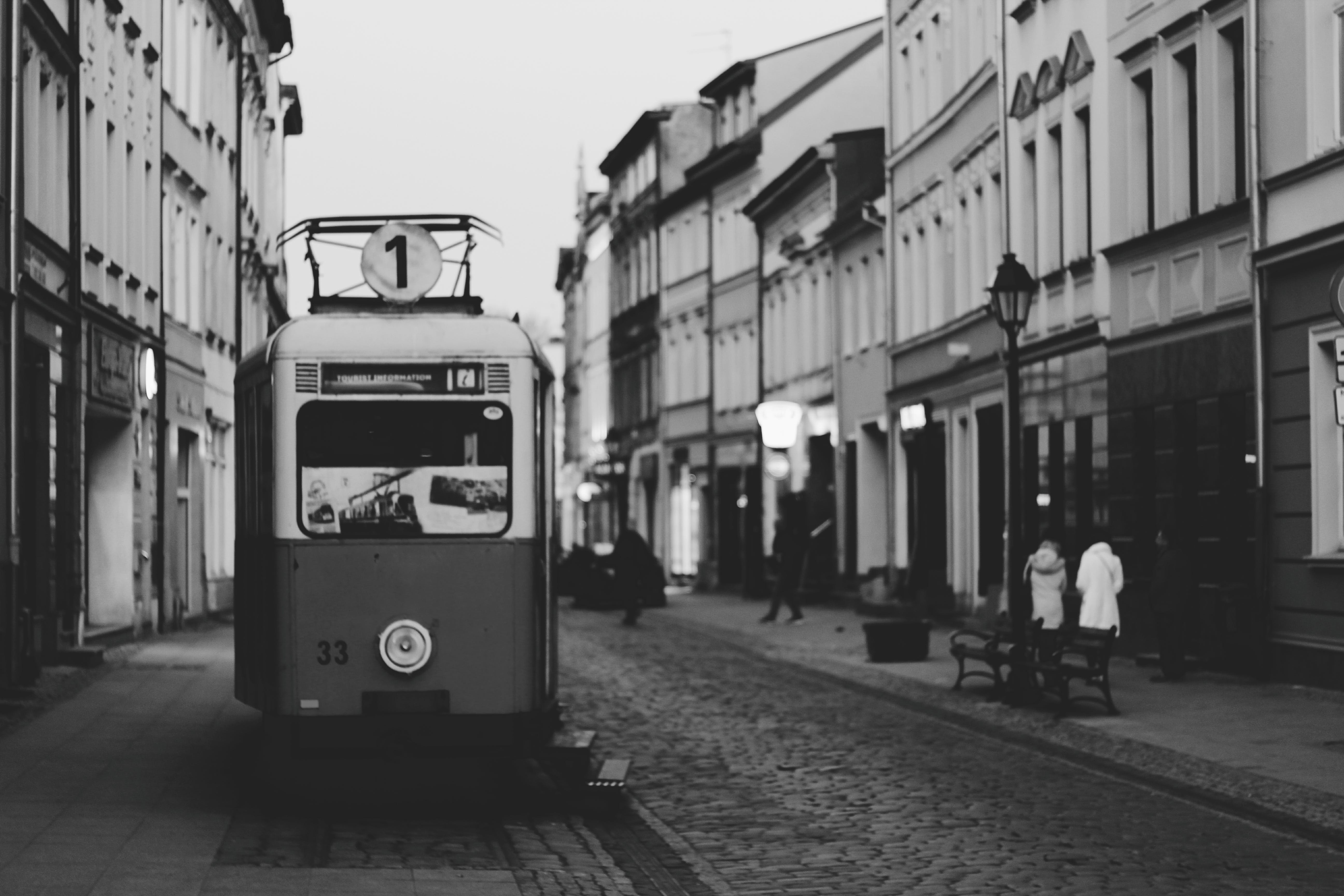 Grayscale Photography Of Tram