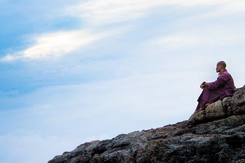 僧侶, 夕陽, 天空, 思想 的 免费素材照片