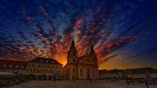 Almanya, binalar, bulutlar, gün batımı içeren Ücretsiz stok fotoğraf