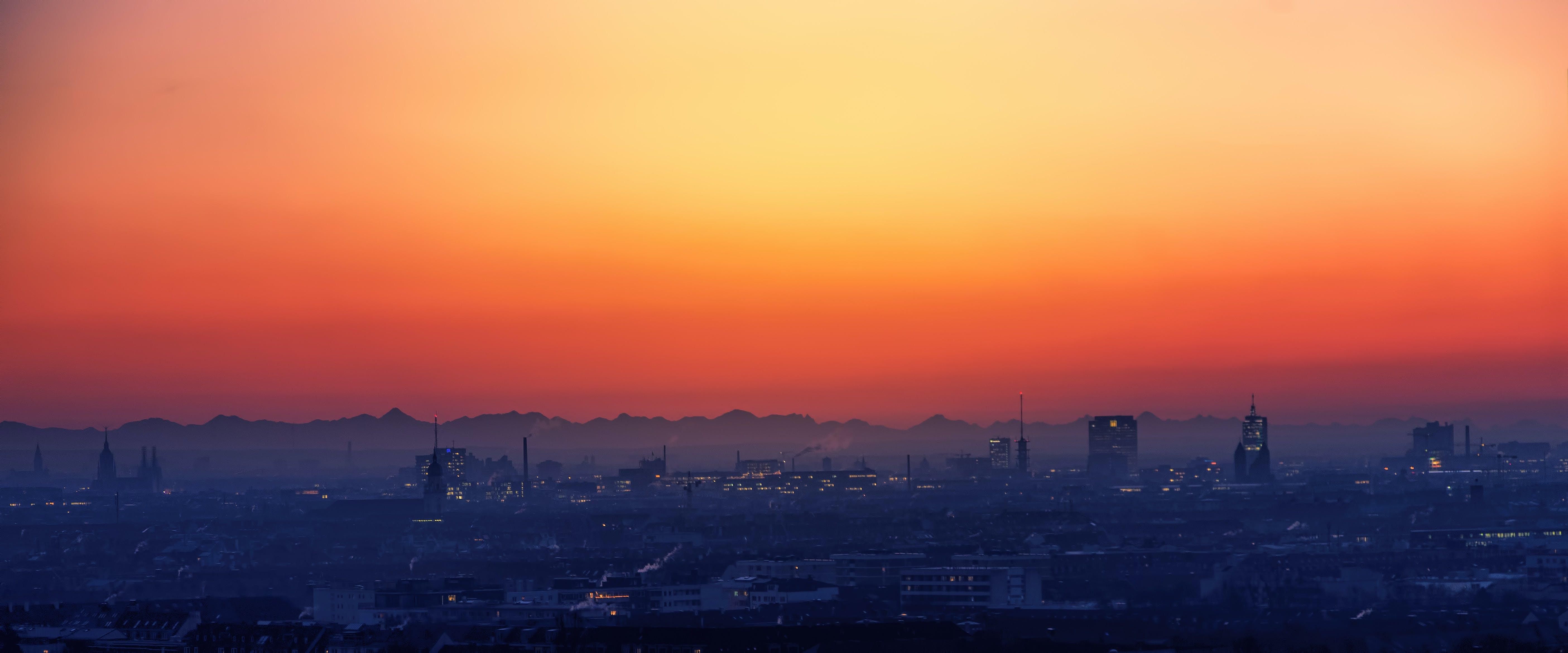 Kostenloses Stock Foto zu stadt, dämmerung, landschaft, himmel