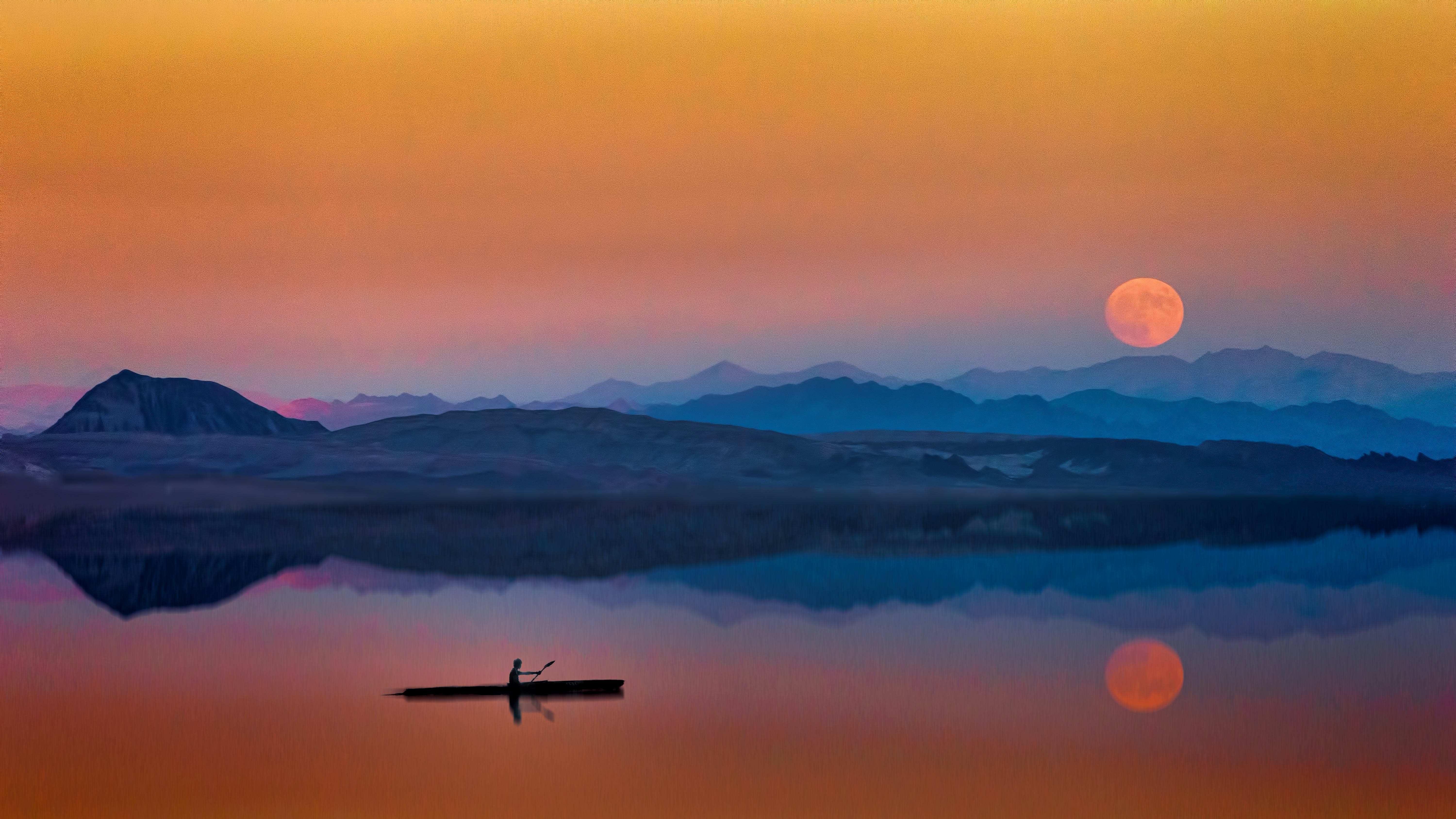 Man On the Boat Near Mountains During Golden Hour