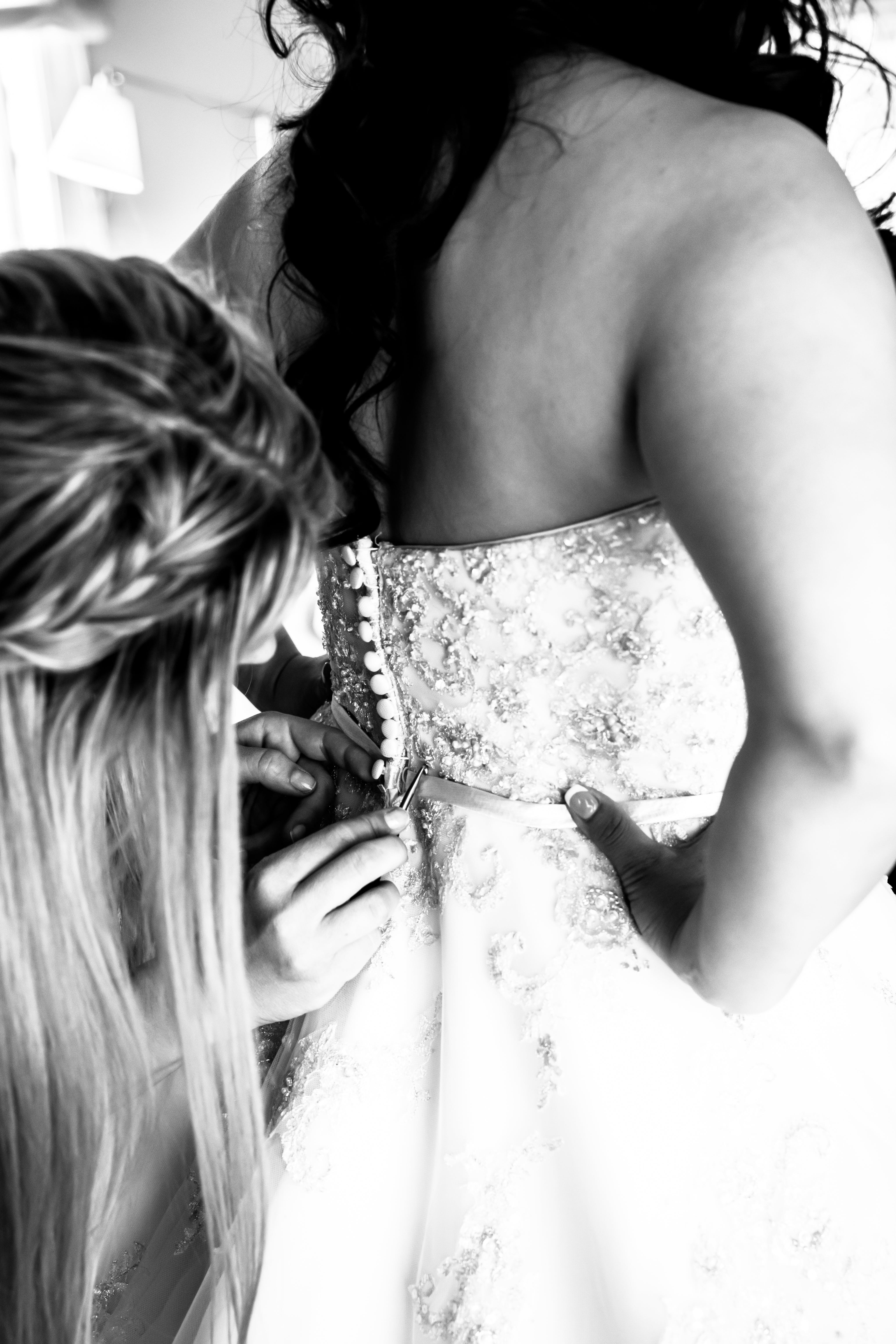 Grayscale Photography of Woman Wearing Bridal Gown