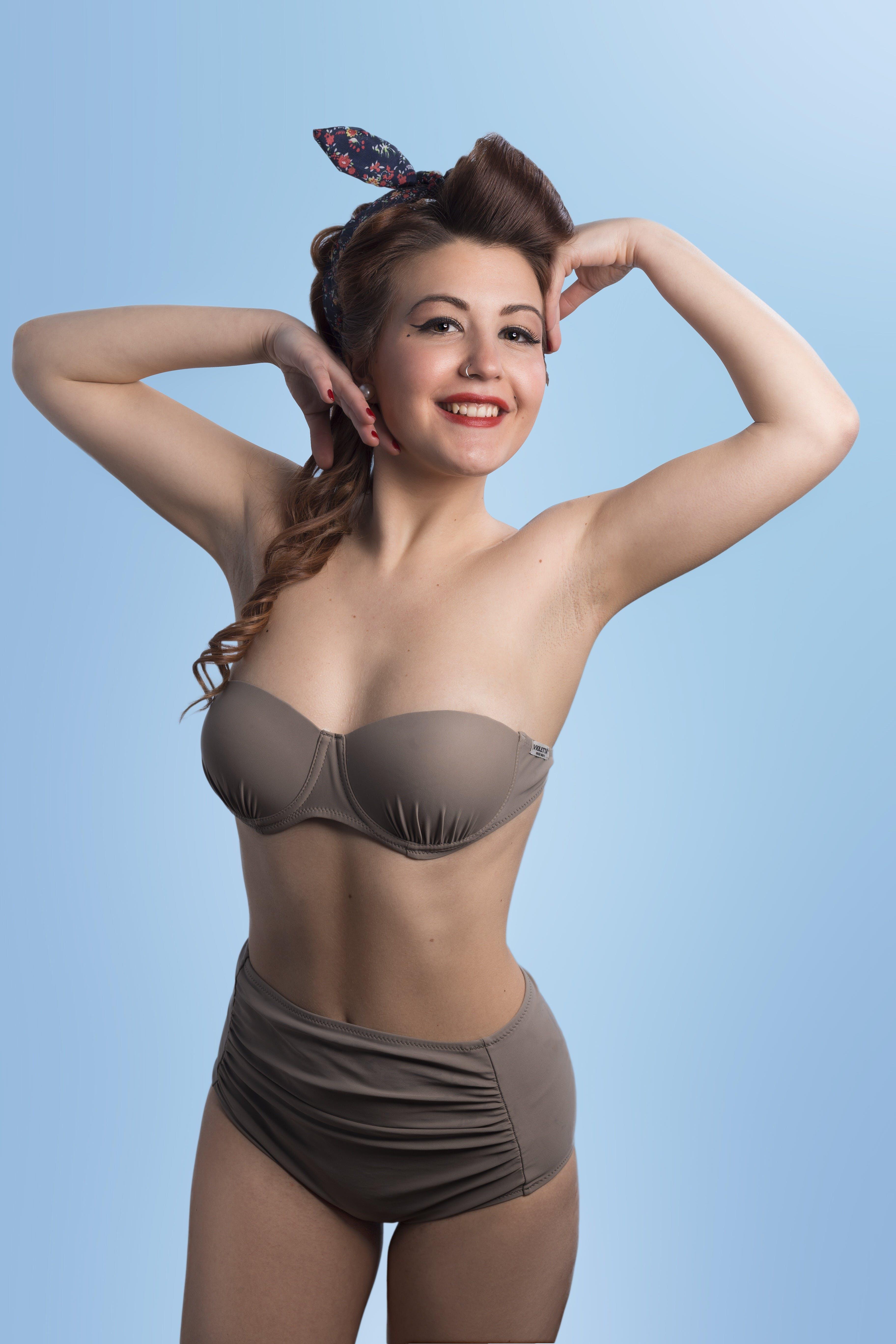 Woman Wearing Brown Bikini Set