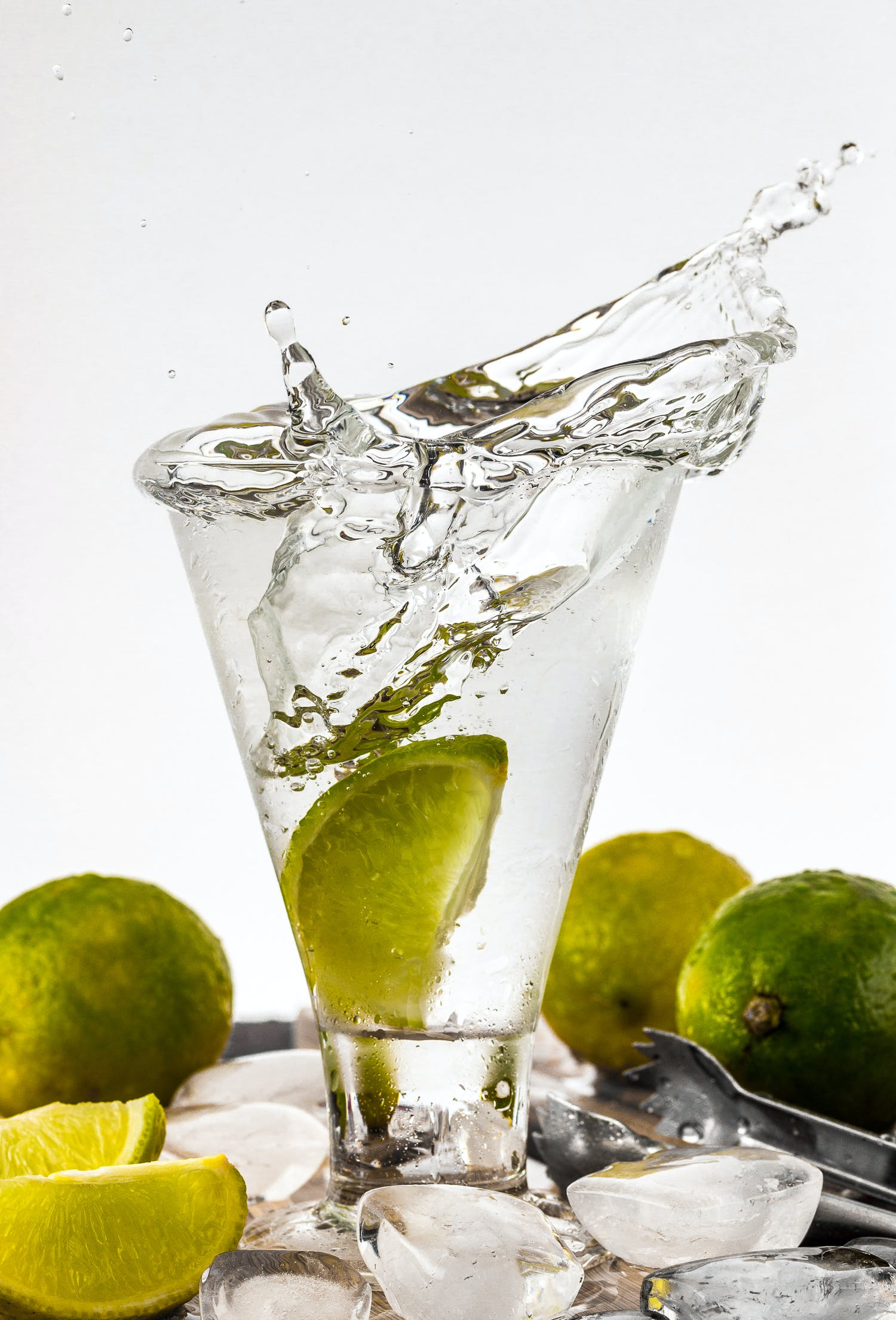 Water Filled Glass Cup With Sliced Lime