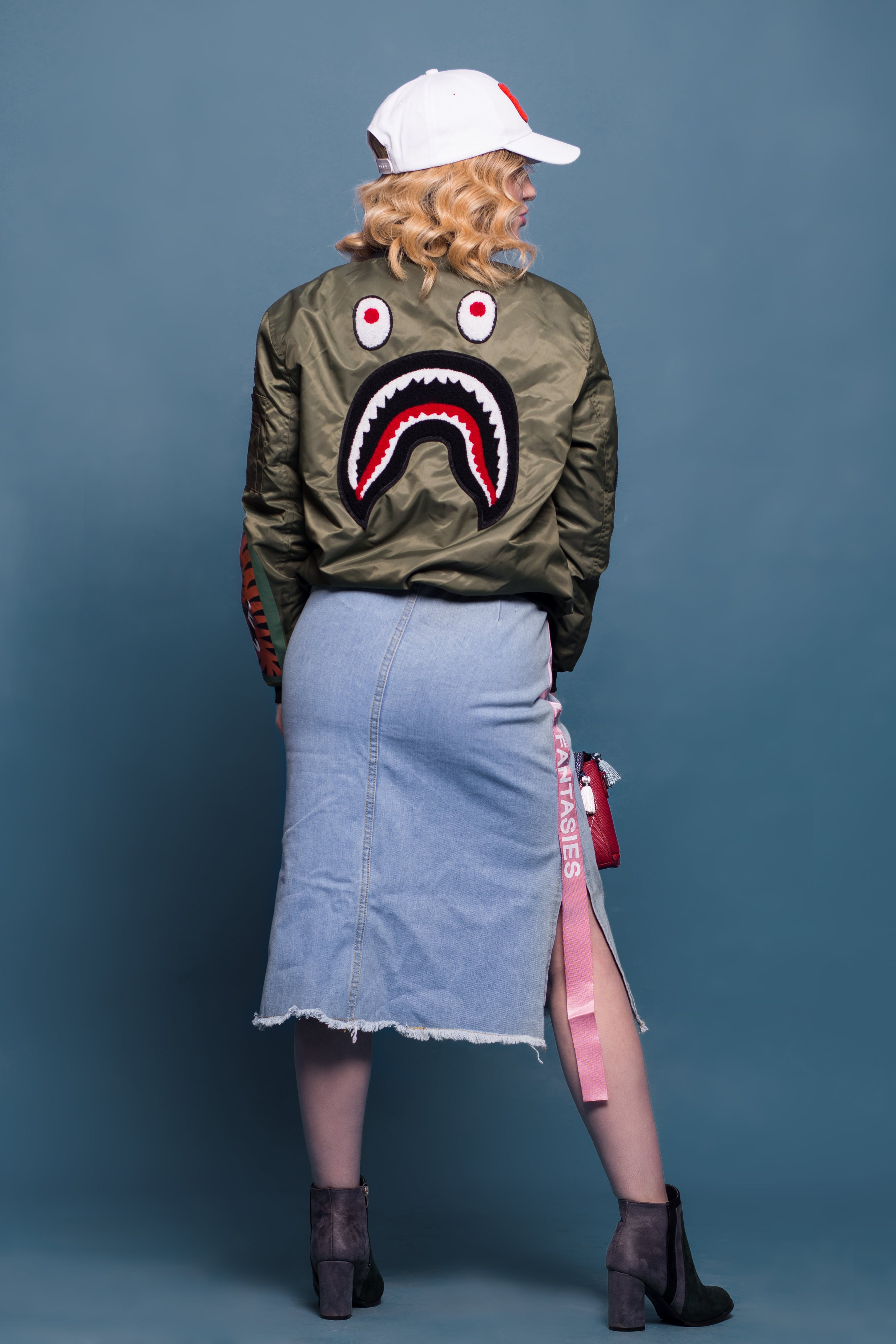 Woman Wearing Green Bathing Ape Jacket and Bottom Skirt
