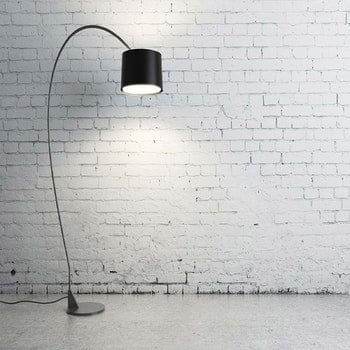 Turned on Black Torchiere Lamp