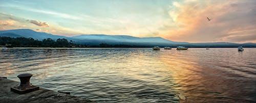 山火事, 日没, 桟橋, 水の無料の写真素材
