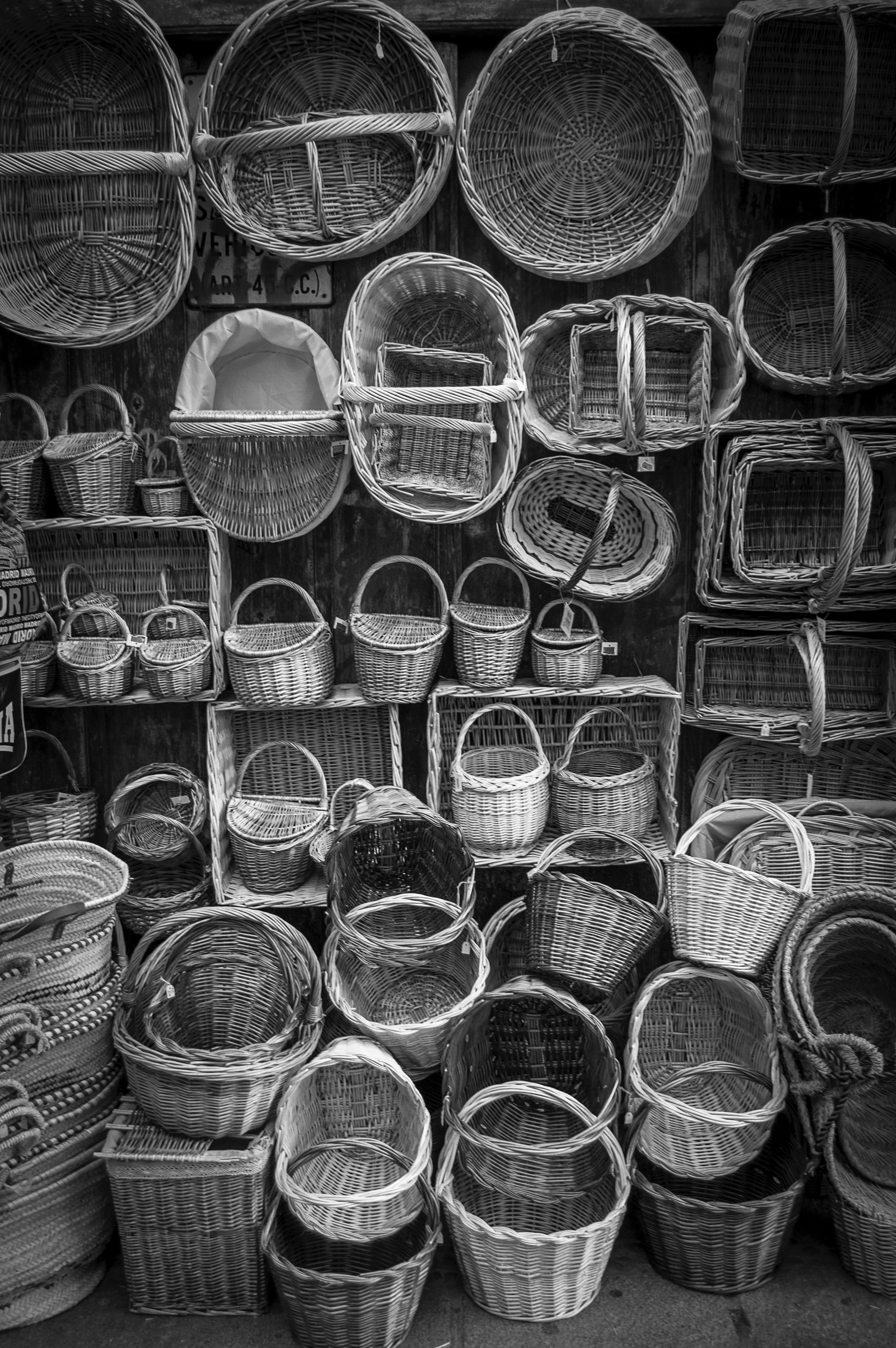 Free stock photo of baskets, black-and-white