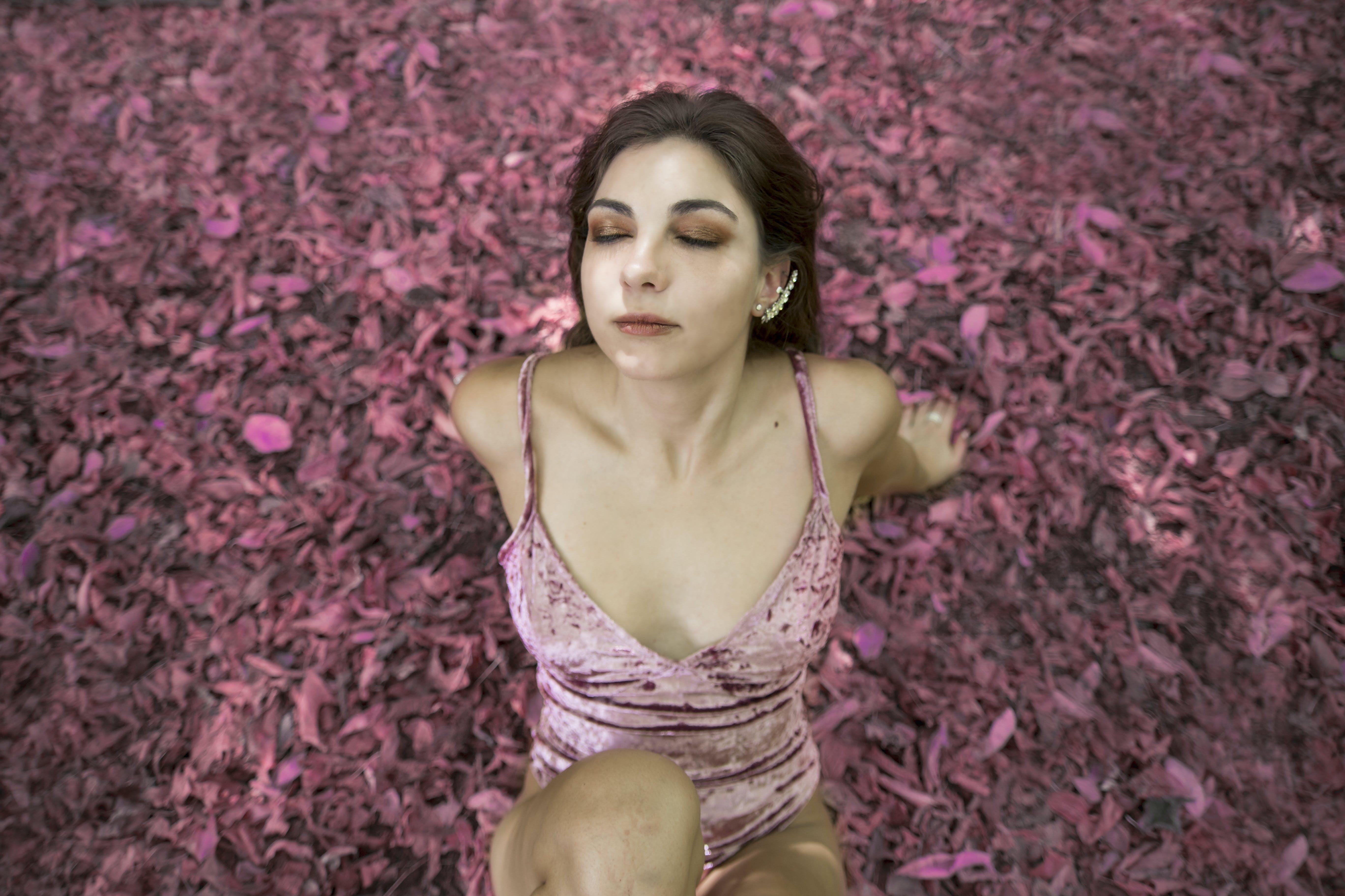 Woman in Pink Swimwear