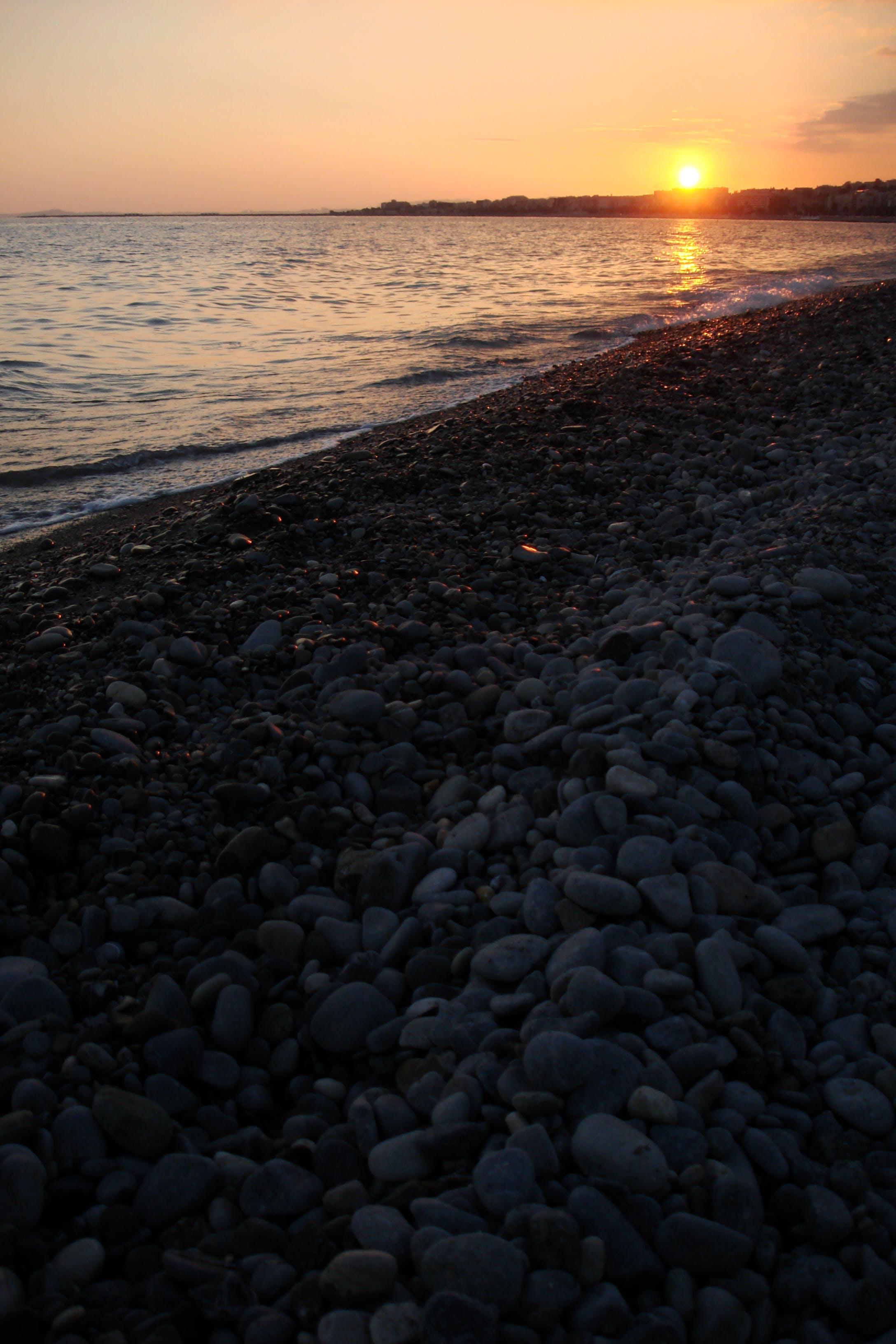 Free stock photo of beach, deep ocean, golden sunset