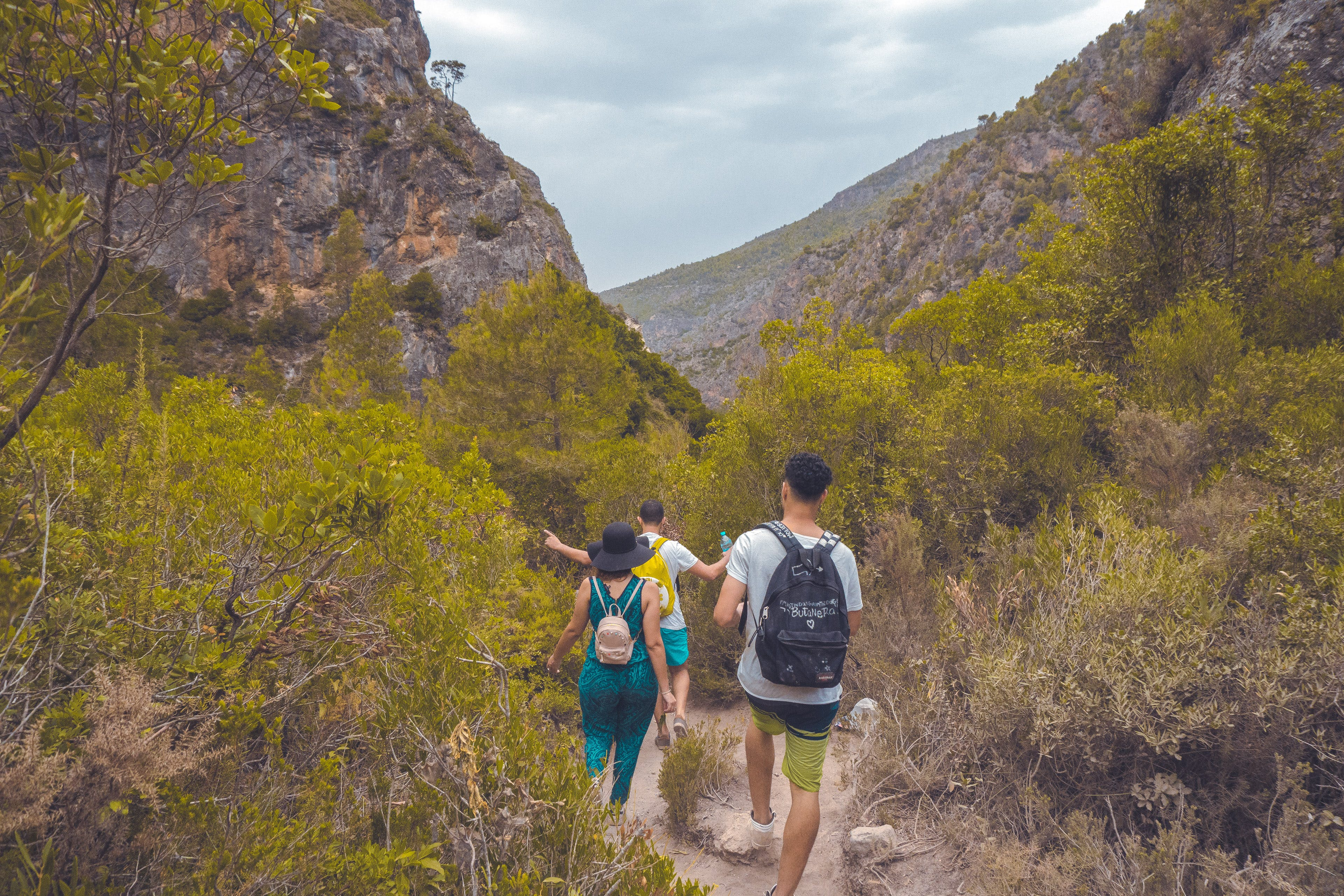 Two Men and Woman Walking Surrounded by Mountain and Trees