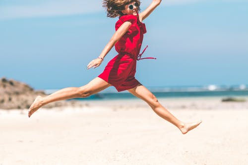 ジャンプ, のんき, ビーチ, レディの無料の写真素材
