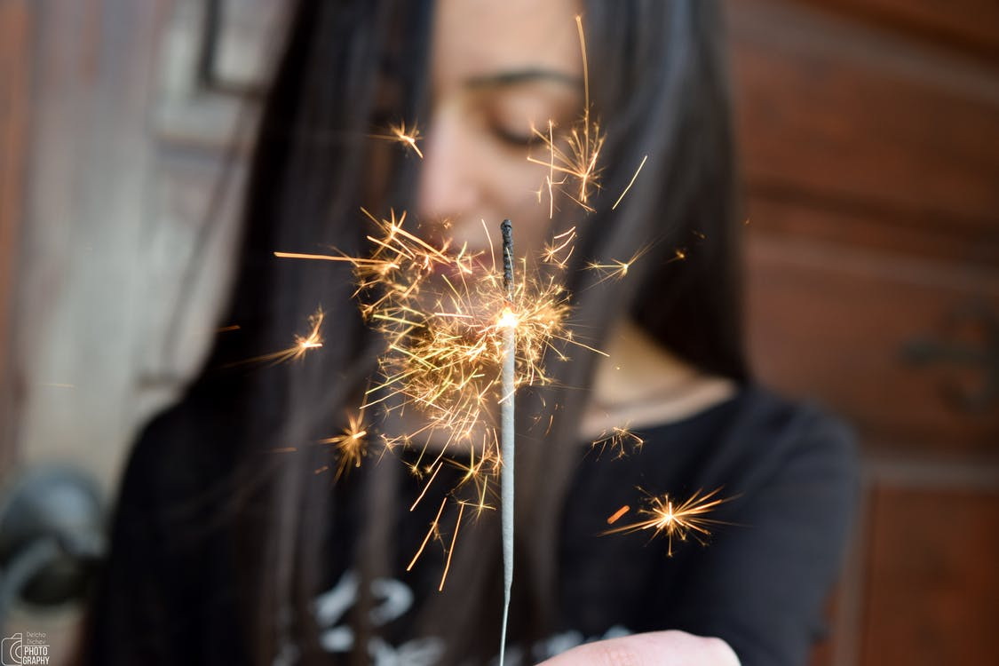 bengala, celebración, chispas