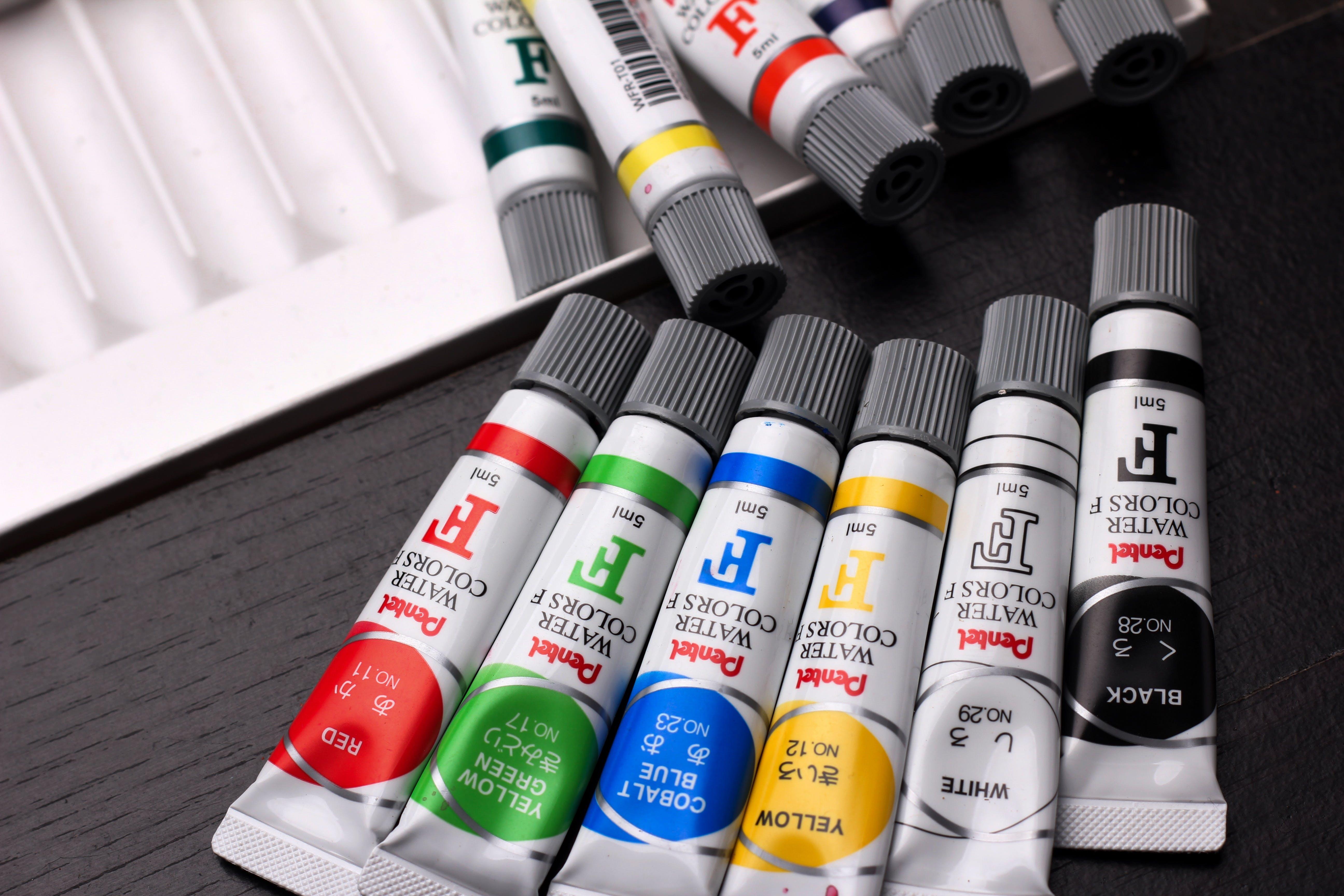 Six Assorted Colour Paint Tubes