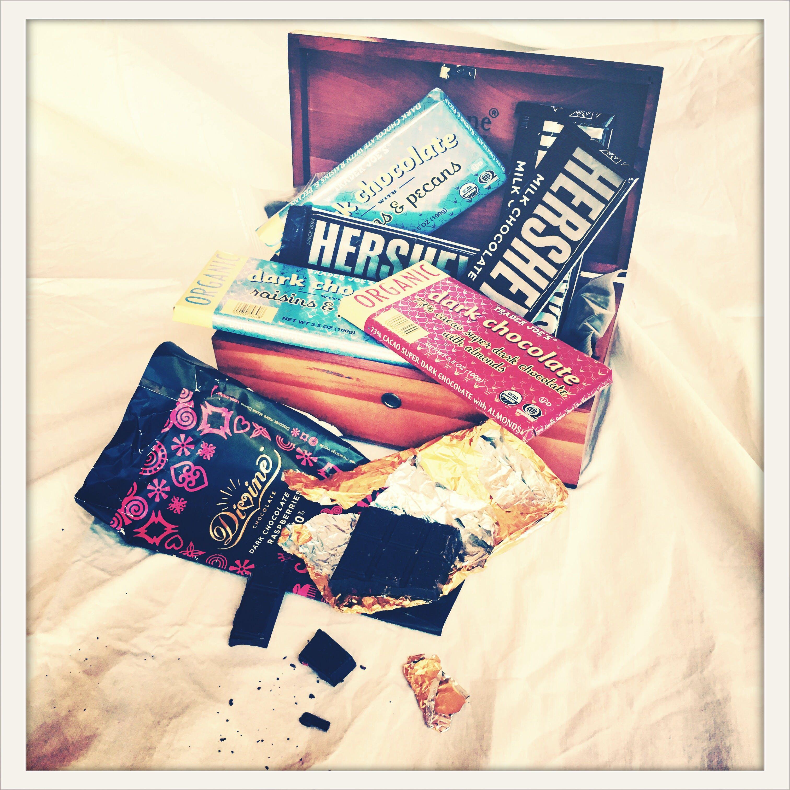 Free stock photo of box of chocolate, candy, chocolate, chocolate bar