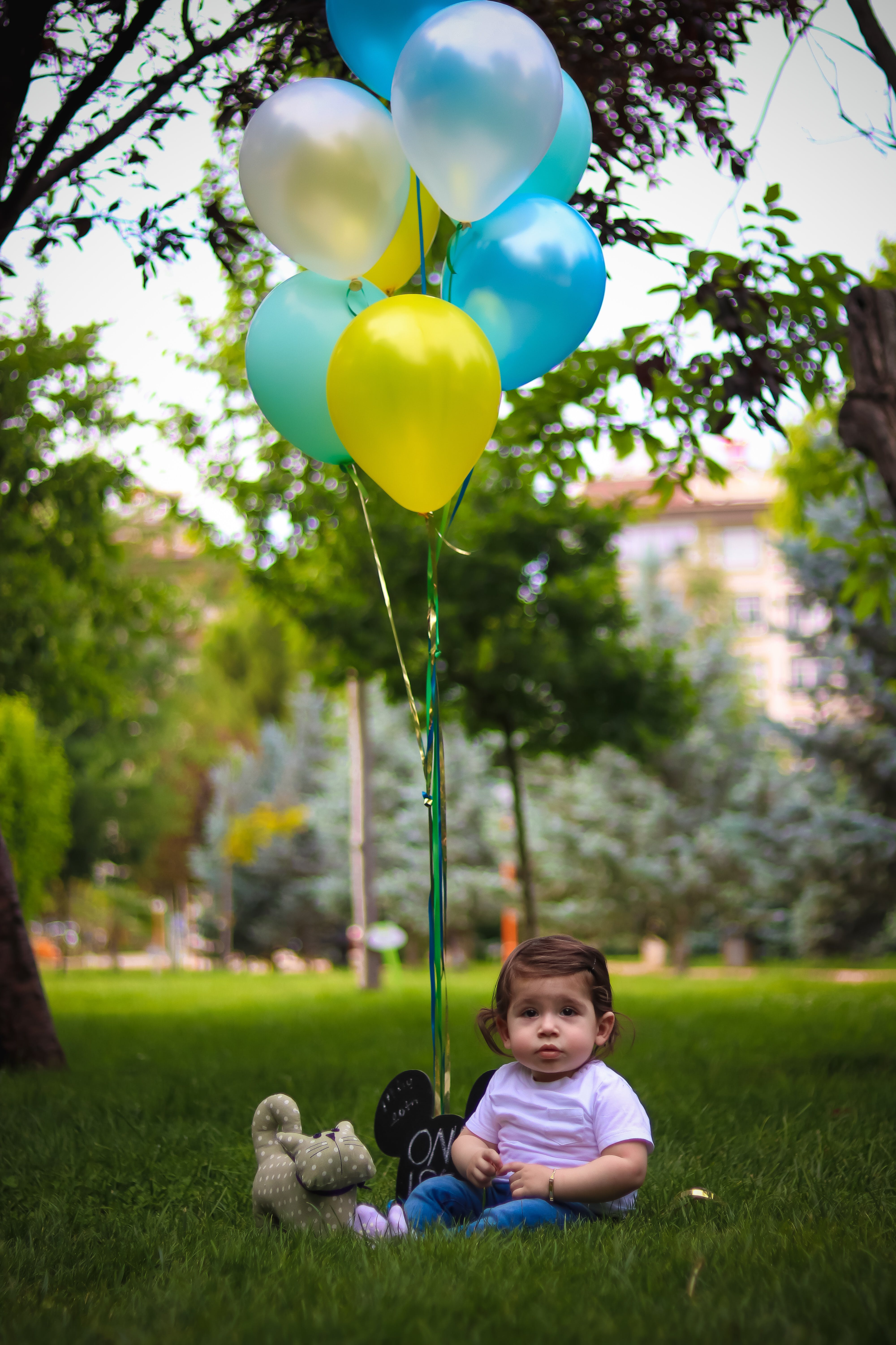 Baby' With Blue and Yellow Balloons